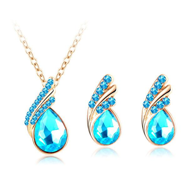 LZESHINE Fashion New Austria Crystal Water Drop Gold/Silver Plated Earrings Necklaces Bridal Jewelry Sets Wedding Dress bijoux-Dress-SheSimplyShops