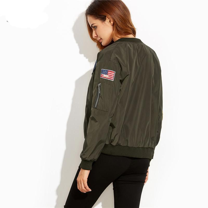Army Green Embroidered Patch Zipper Stand Collar Coat Women Fashion Long Sleeve Bomber Jacket-Bottoms-SheSimplyShops
