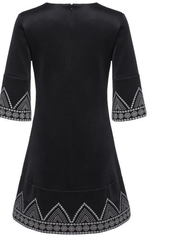 SheIn Women New Style Summer Dresses Vintage Clothes Black Round Neck Half Sleeve Embroidered Loose Casual Dress-Dress-SheSimplyShops