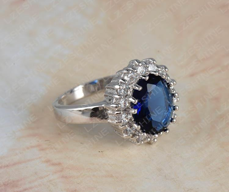 LZESHINE British Kate Princess Diana William Engagement Ring Silver Plate Blue Zircon Rings Ri-HQ0016-SheSimplyShops