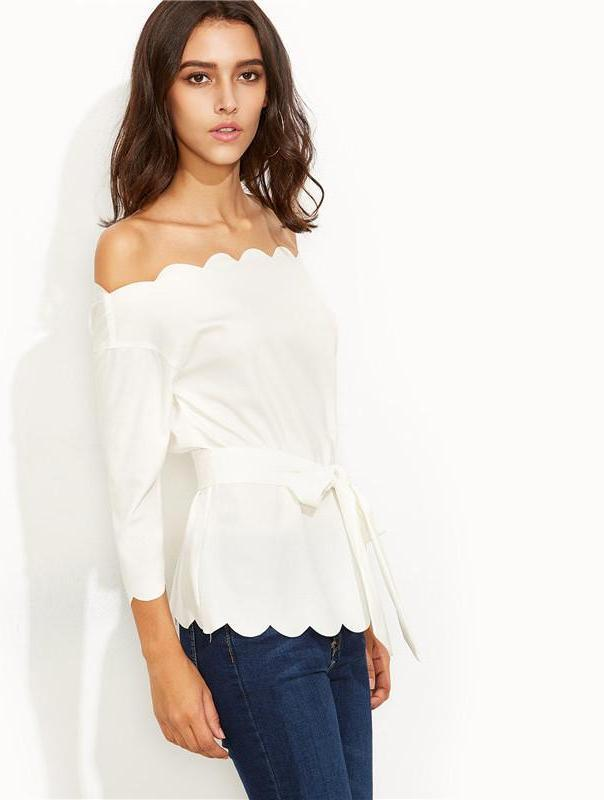 SheIn Womens Elegant Blouses and Tops For Autumn Ladies White Belted Scallop Trim Long Sleeve Off The Shoulder Blouse-Blouse-SheSimplyShops