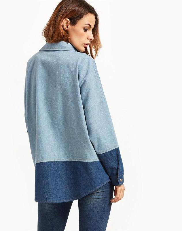 SheIn Autumn Women Basic Jackets Blue Color Block Shoulder Lapel Collared Curved Hem With Pocket Shirt Jacket-Coats & Jackets-SheSimplyShops