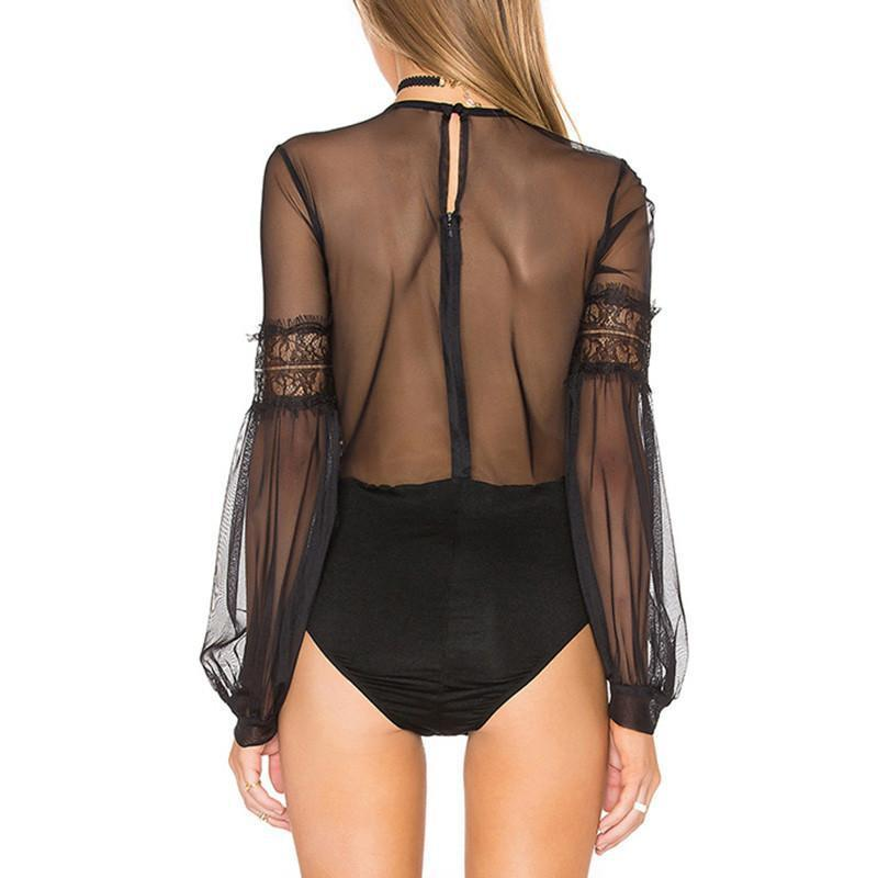HDY Haoduoyi Lantern Sleeve Hollow Out Bodysuit Sexy Solid Black Vintage Jumpsuits Sheer Tulle Patchwork Playsuit-ROMPERS & JUMPSUITS-SheSimplyShops
