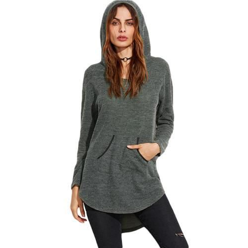 SheIn Ladies Olive Green Curved Dip Hem Hoodie With Pocket Women Casual Pullovers For Autumn Long Sleeve Sweatshirts-HOODIES-SheSimplyShops