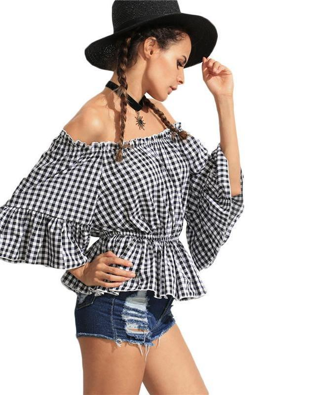 SheIn Ladies Summer Tops Black White Checkerboard Ruffled Off The Shoulder Three Quarter Length Butterfly Sleeve Blouse-Blouse-SheSimplyShops