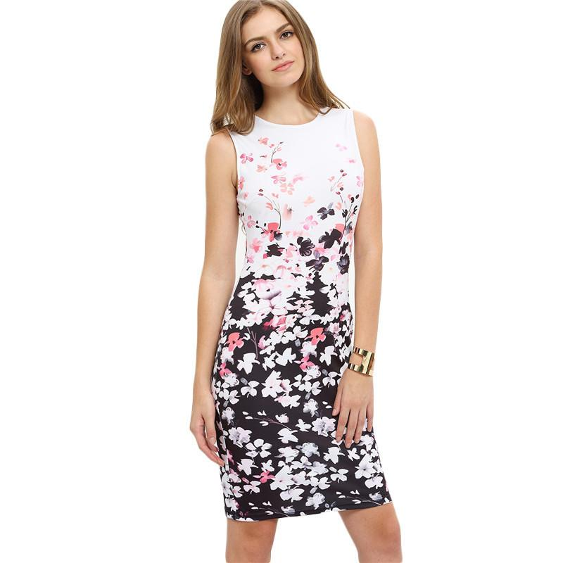 SheIn New Woman Dresses Fashion Work Wear Summer Multicolor Round Neck Sleeveless Flower Print Bodycon Dress-Dress-SheSimplyShops