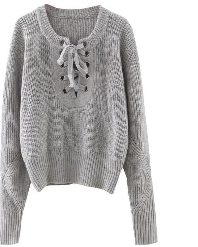 SheIn Women Sweaters and Pullovers Womens Fall Fashion Plain Eyelet Lace Up Ribbed Trim Long Sleeve Sweater-SWEATERS + CARDIGANS-SheSimplyShops