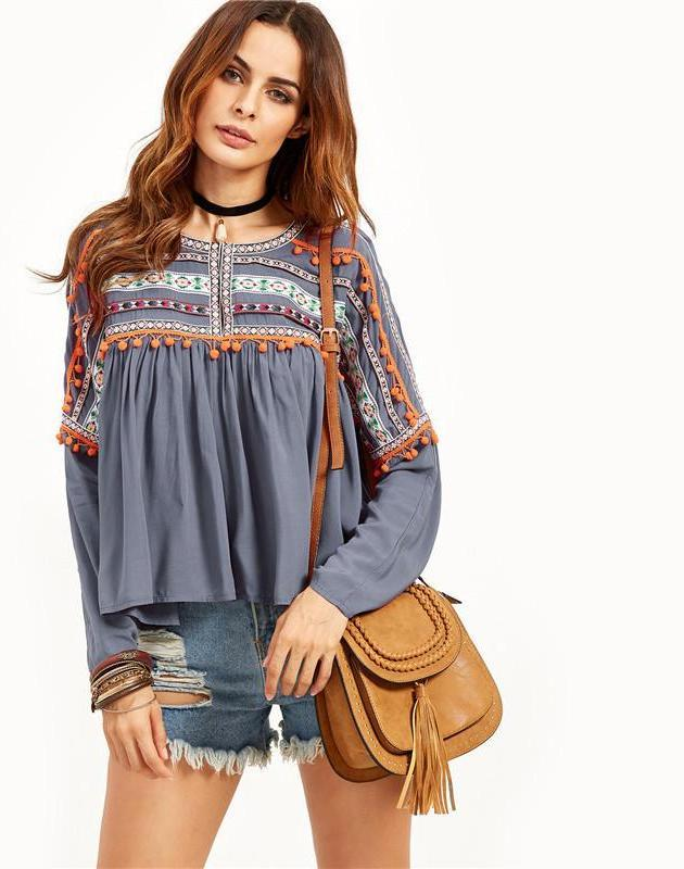 SheIn Womens Grey Babydoll Blouse With Embroidered Tape Detail Autumn Ladies Round Neck Long Sleeve Vintage Blouse-Blouse-SheSimplyShops