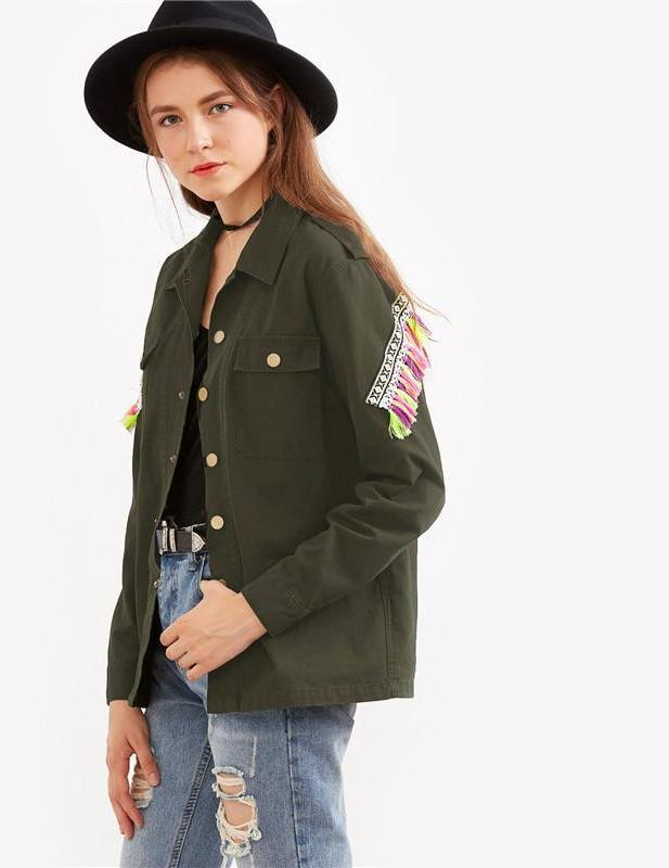 SheIn Women Coats and Jackets Vintage Single Breasted Olive Green Jacket With Embroidered Patch And Tassel Detail-Coats & Jackets-SheSimplyShops
