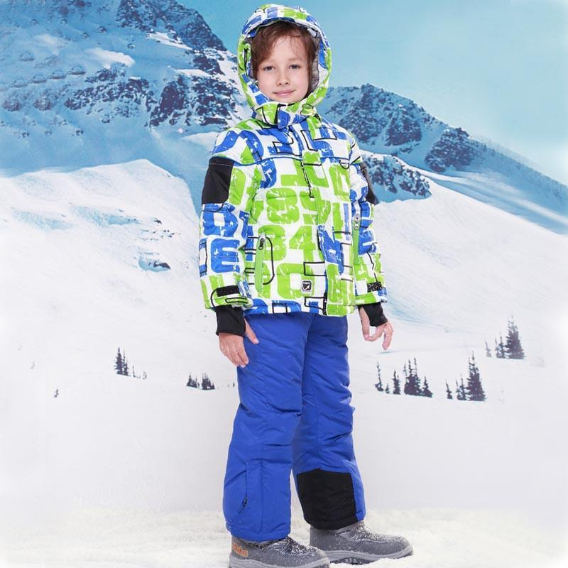 9122fc9dc Skiing jacket+pant snow suit fur lining -20 DEGREE ski suit kids winte