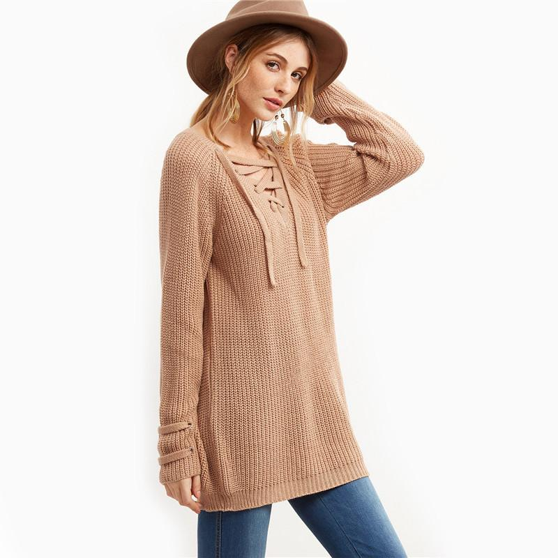 V Neck Lace Up Loose Knit Sweater-SWEATERS + CARDIGANS-SheSimplyShops