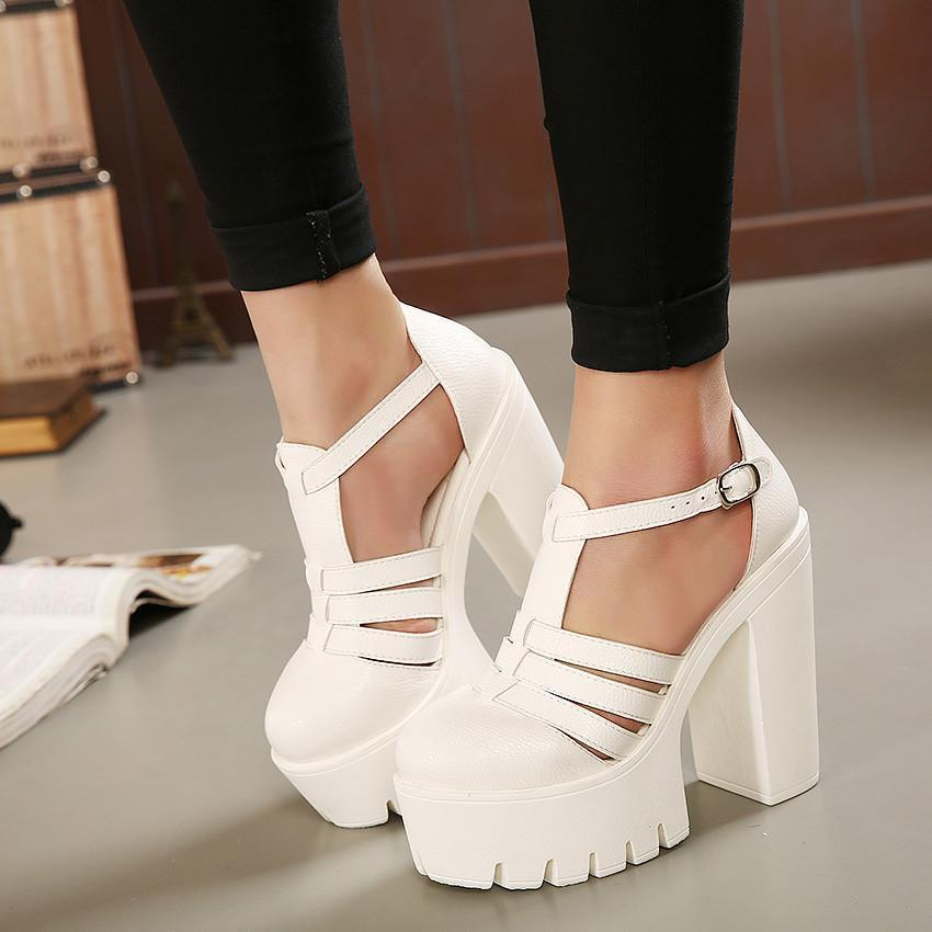 New Summer Fashion High Platform Sandals Women Casual Ladies Shoes China Black and White Size EUR 35 to 39-SHOES-SheSimplyShops
