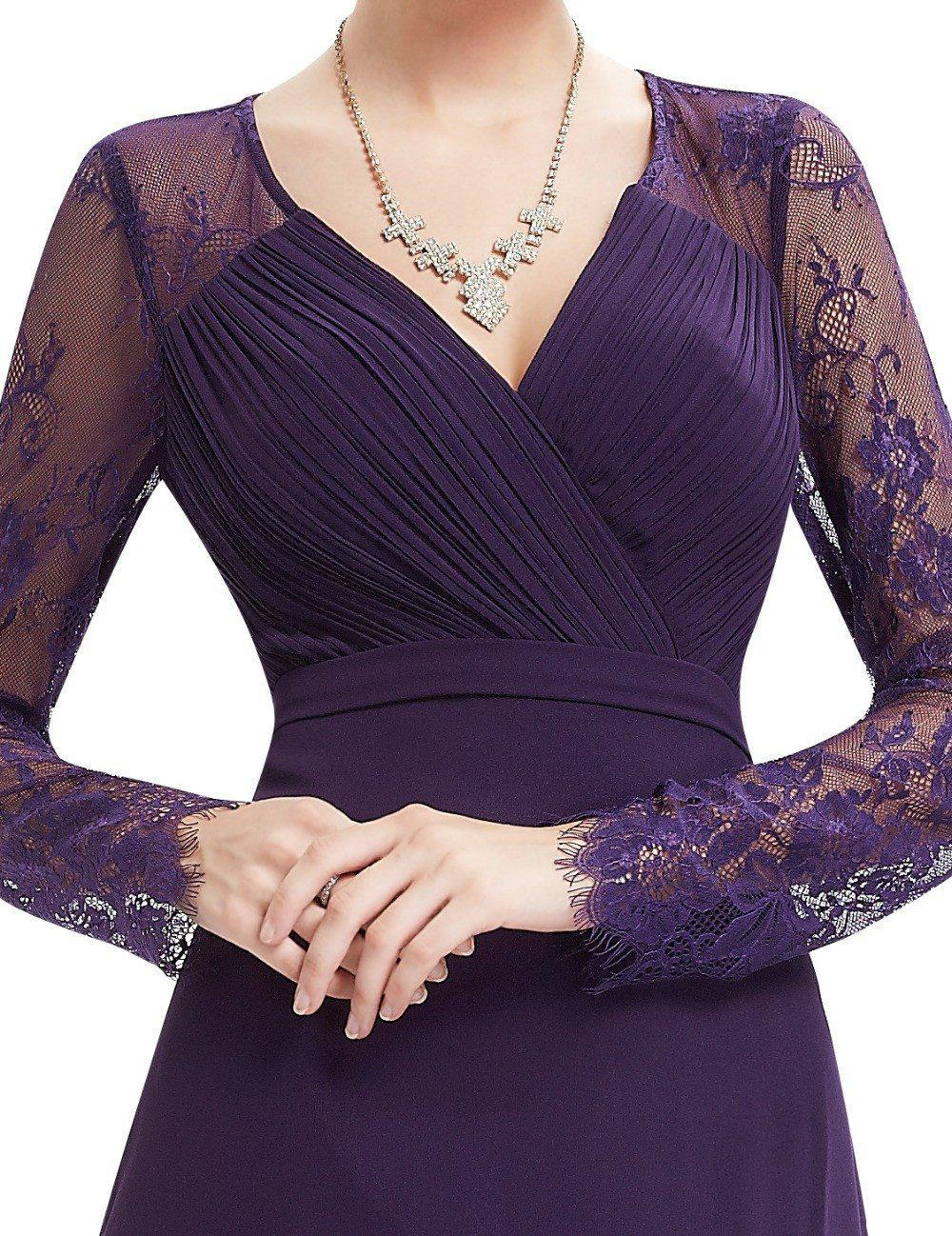Formal Evening Dresses Women's Elegant V-neck Long Sleeve Lace Evening Dress-Dress-SheSimplyShops