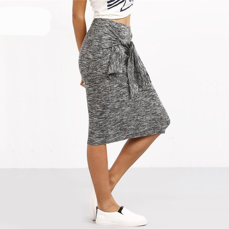 SheIn Women Summer Style Casual Knee Length Skirts Ladies New Arrival Plain Grey Knotted Front Sheath Skirt-Dress-SheSimplyShops