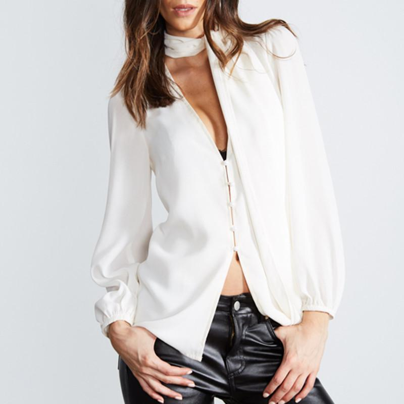 HDY Haoduoyi White Tie Front Chiffon Blouse Office Lady Deep V Neck Long Sleeve Shirts Sexy Natural Slim Single Button Tops-Blouse-SheSimplyShops