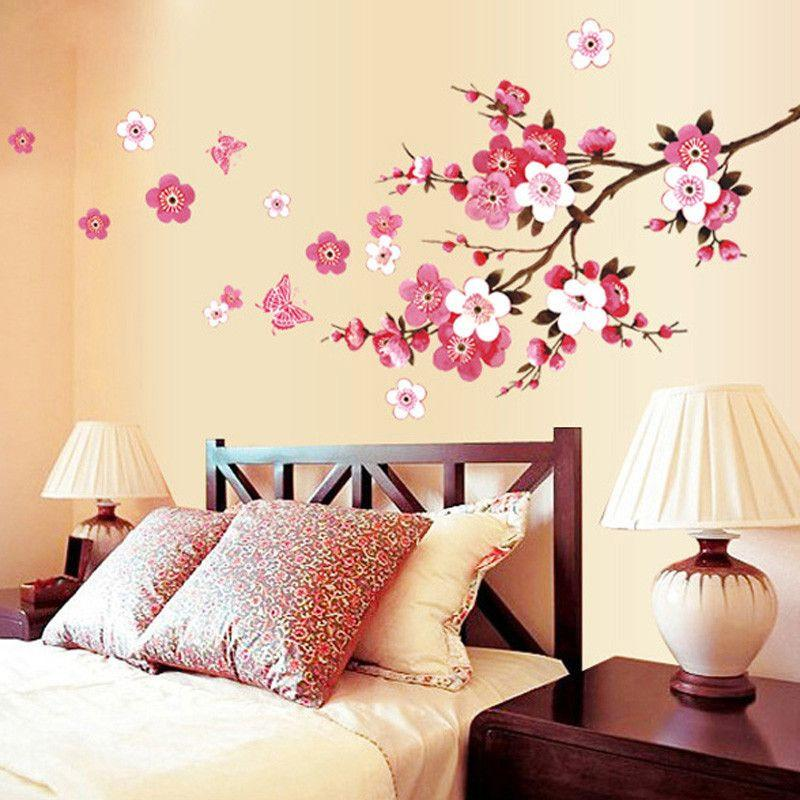 Cherry Blossom Wall Poster Waterproof Background Sticker for Bedroom Cafe wall stickers home decor pegatinas de pared-SheSimplyShops