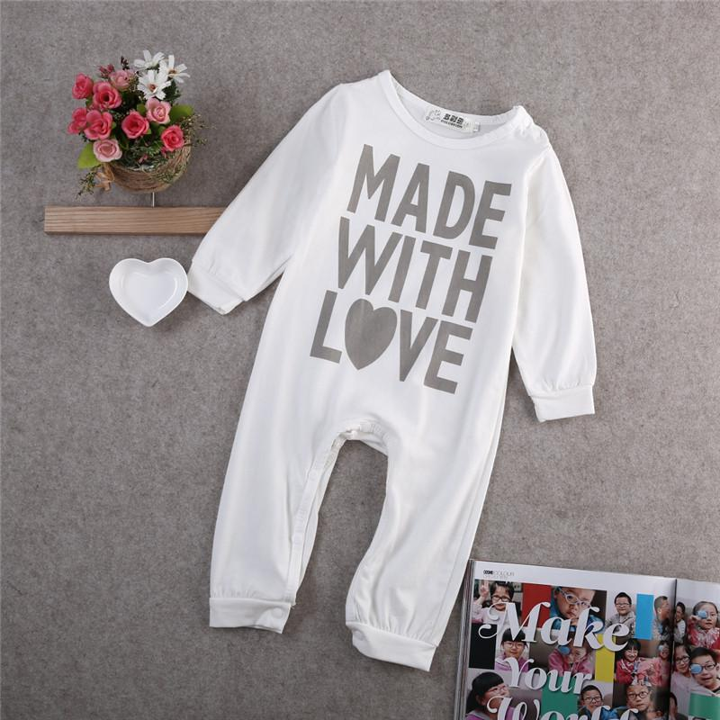 Infant Baby Boy Girls Warm Clothes Long Sleeve Baby Rompers Jumpsuit Letters Baby Autumn Winter Clothes-ROMPERS & JUMPSUITS-SheSimplyShops