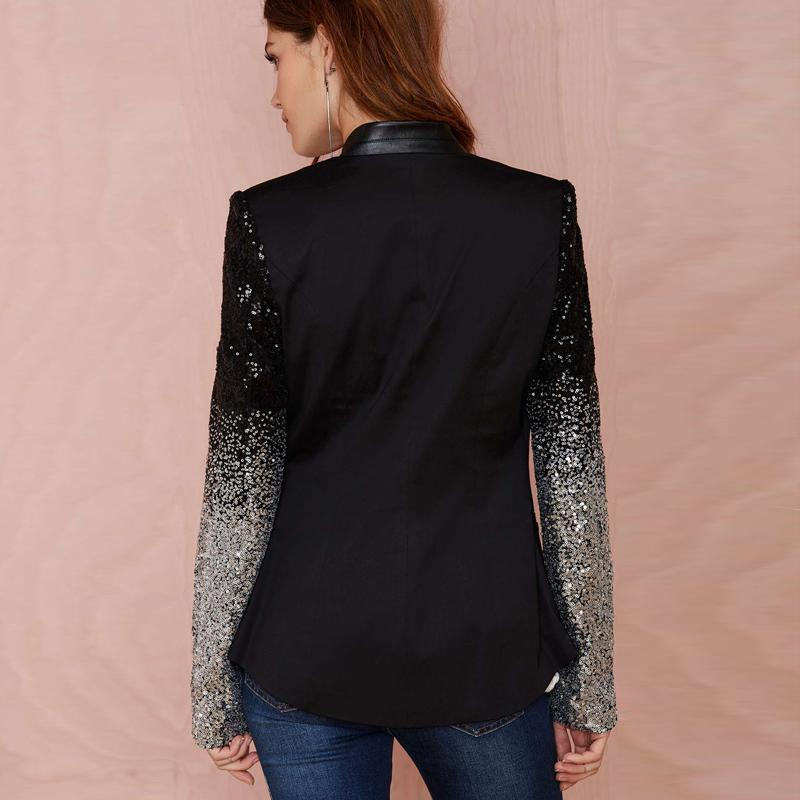 slim women Pu patchwork Black silver sequins Jackets Full sleeve Fashion winter coat for-Coats & Jackets-SheSimplyShops