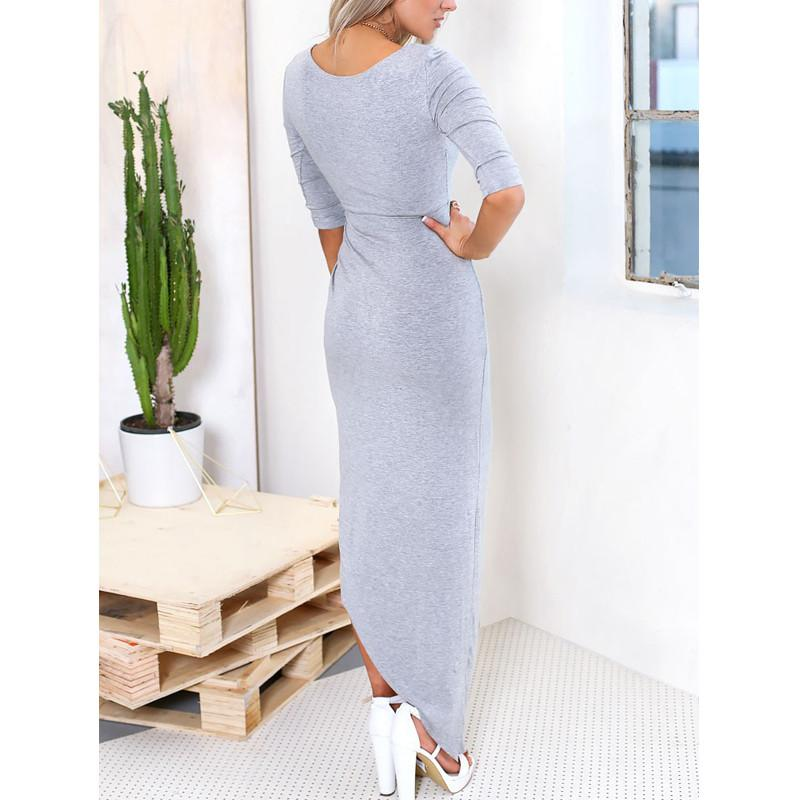 Knitting summer style maxi women casual clothing chic elegant plus size crinkle long dress-Dress-SheSimplyShops