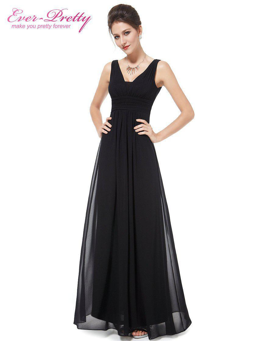 Evening Dresses Ever Pretty HE08110 Elegant Black Deep V-neck Maxi Woman Vestidos Longo Evening Dresses-Dress-SheSimplyShops
