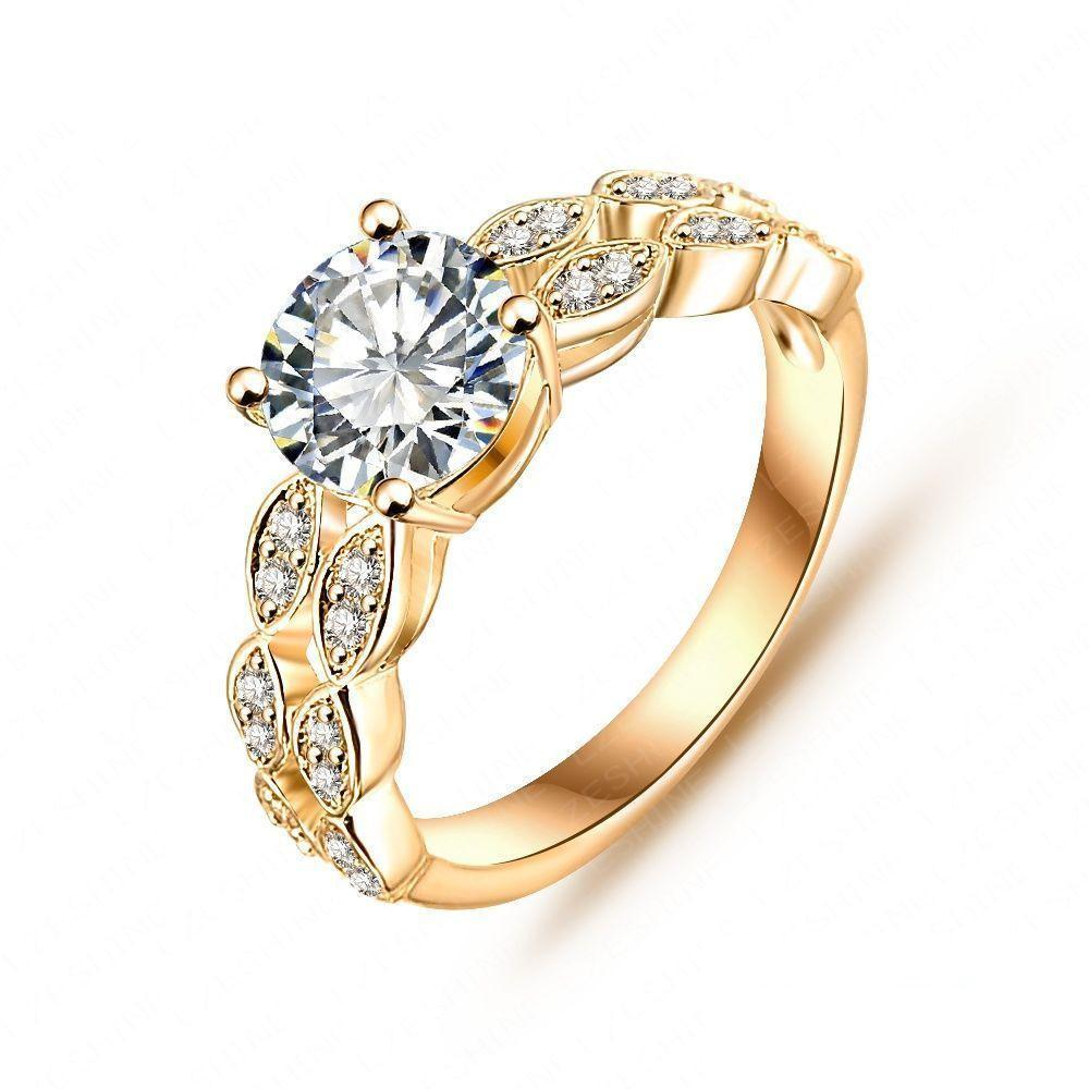 Micro Pave Clear Cubic Zirconia Desirable Gold Silver Plated Bride Ring-Accessories, Rings-SheSimplyShops