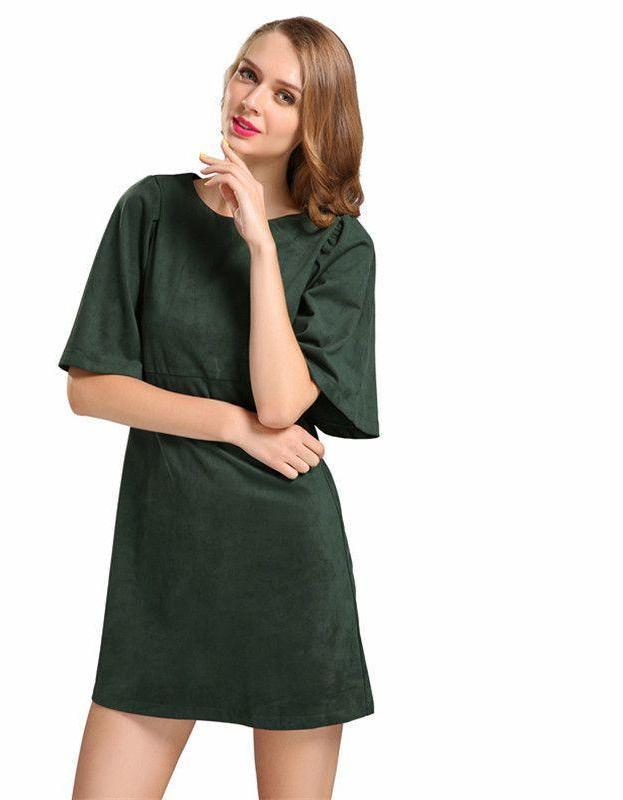 Bella Philosophy autumn winter Lotus butterfly sleeve dress zip double side faux suede dark green red women dress-Dress-SheSimplyShops