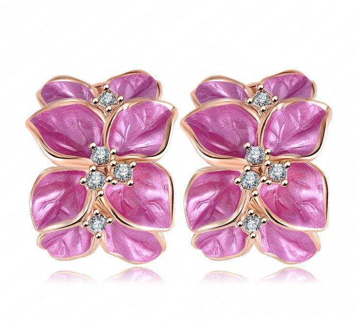 Wedding Jewelry Women Earrings Rose Gold Plated Genuine SWA Elements Austrian Crystal Flower Earring-EARRINGS-SheSimplyShops