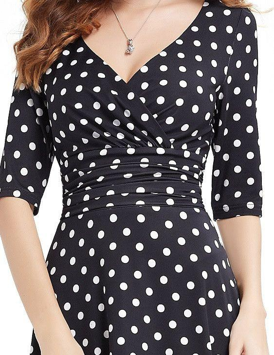 Cocktail Dresses Ever Pretty AS03632 Short Dresses Women 3/4 Sleeves V Neck High Stretch Plus Size Cocktail Dresses-Dress-SheSimplyShops