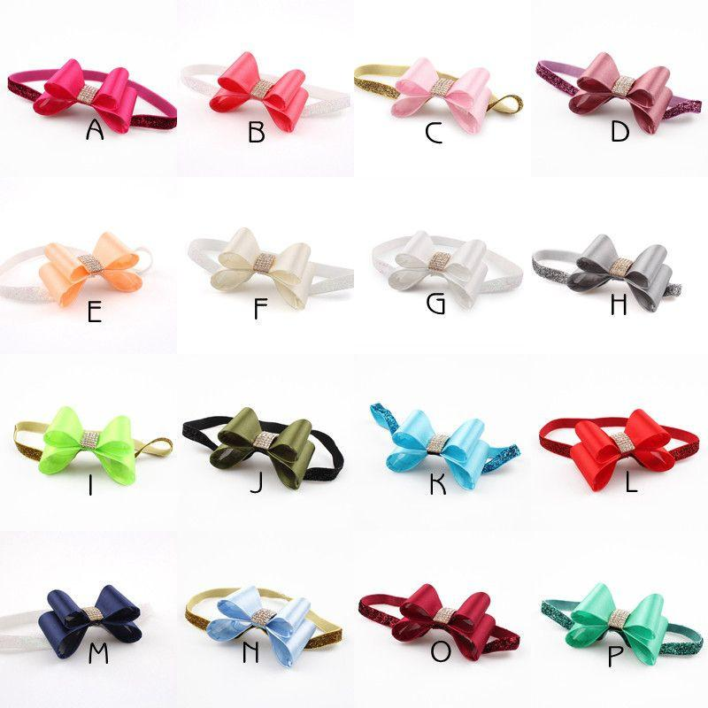 16colors Newborn Luxe Hair Flower Bows Matching Glitter Headband Handmade Hard Bow Headbands For Baby Girls Hair Accessories-ACCESSORIES-SheSimplyShops