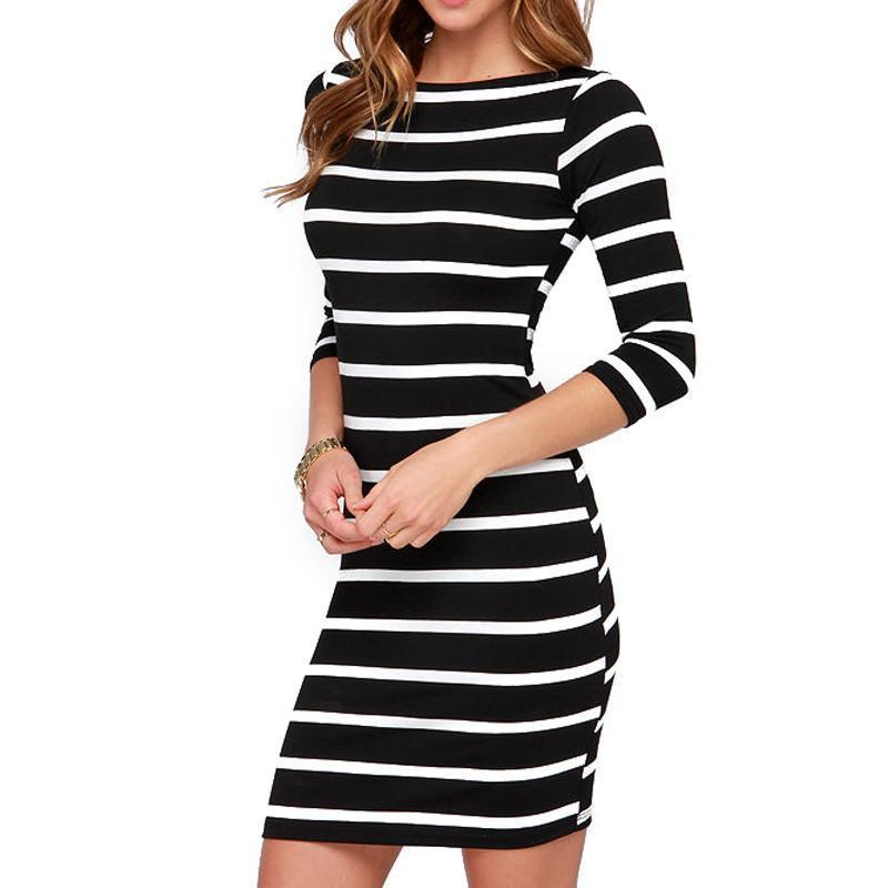 New Spring Summer Women Round Neck Fashion Black and White Striped Long Sleeve Straight Plus Size Casual Dress-Dress-SheSimplyShops