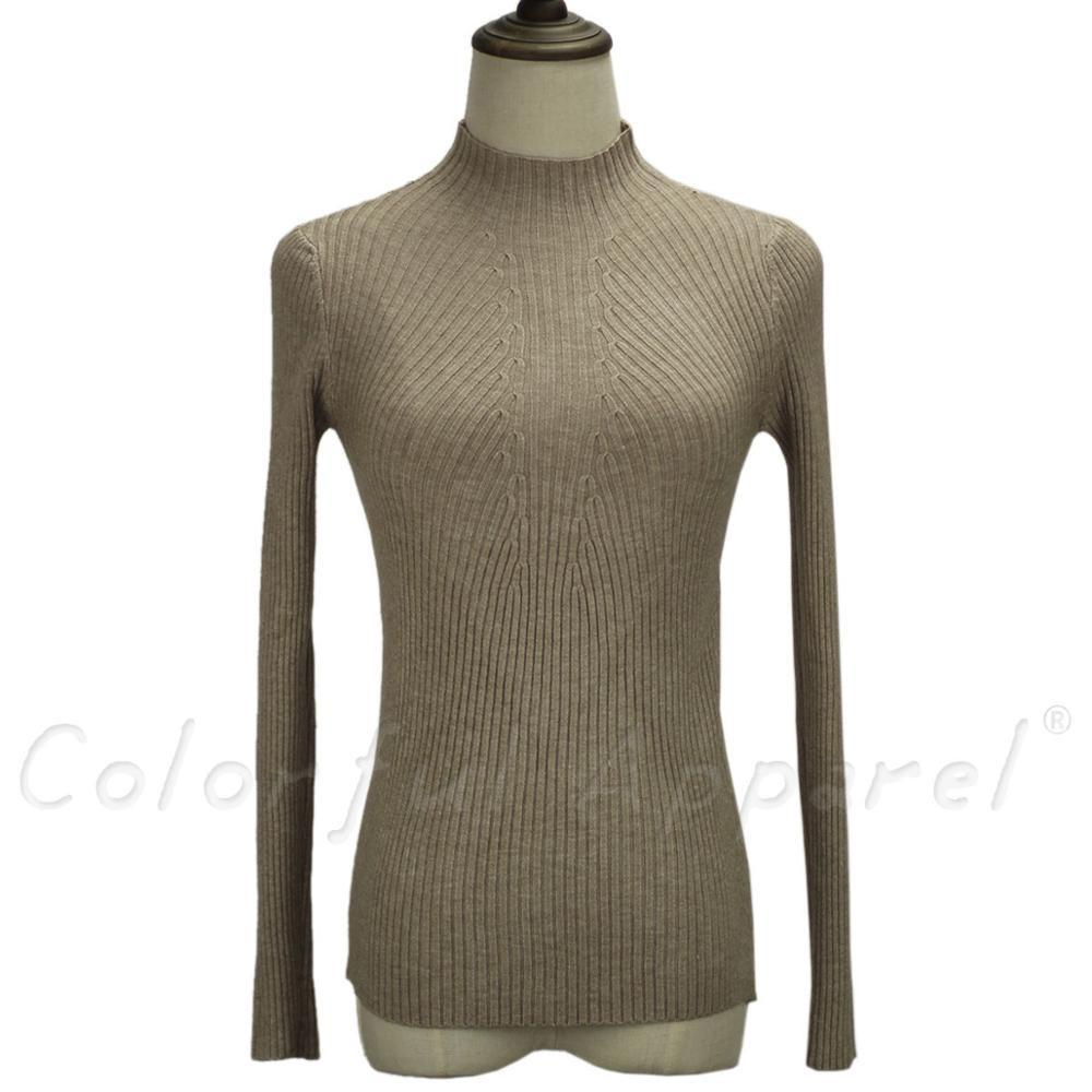 new fashion women turtleneck knitted sweater female knitted slim pullover ladies all-match basic thin long sleeve shirt clothing-SWEATERS + CARDIGANS-SheSimplyShops