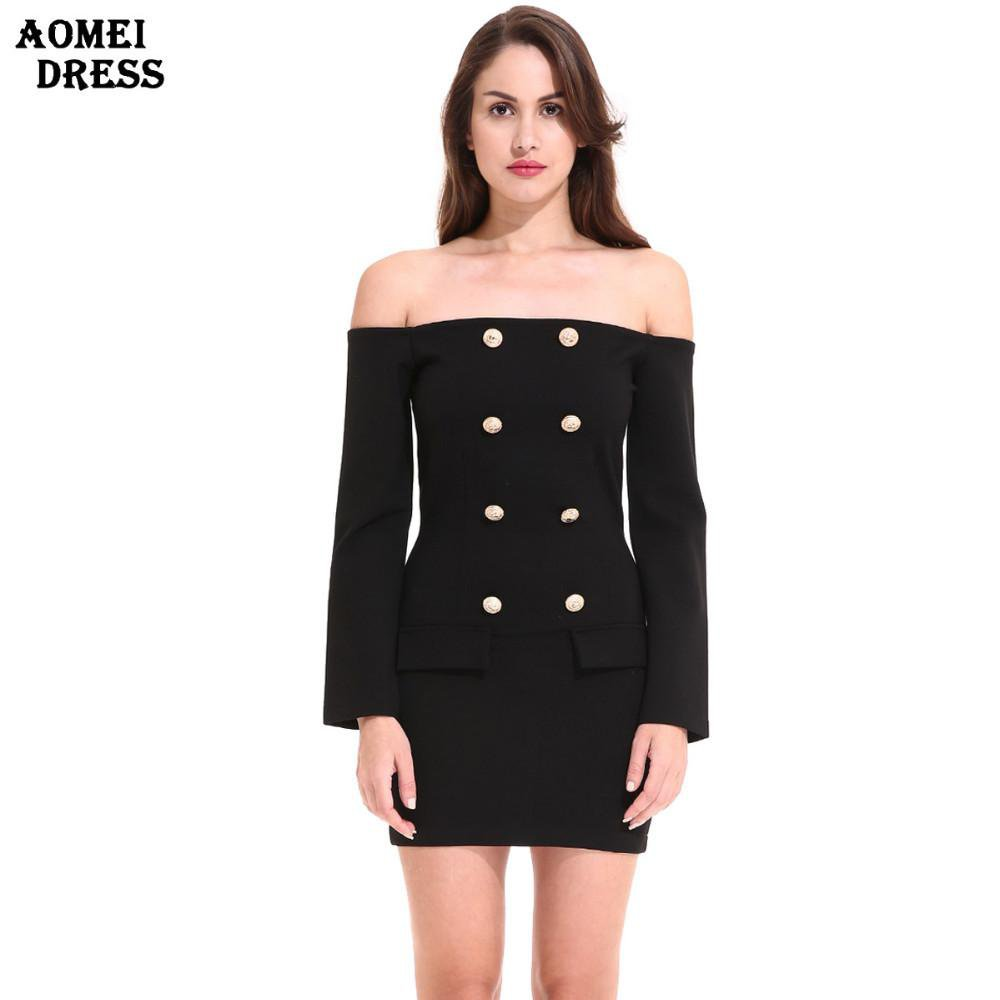 New Women Autumn Winter Dress Black Bodycon Solid Color with Golden Button Long Sleeve Work Wear Mini Dresses Robes Clothes-Dress-SheSimplyShops