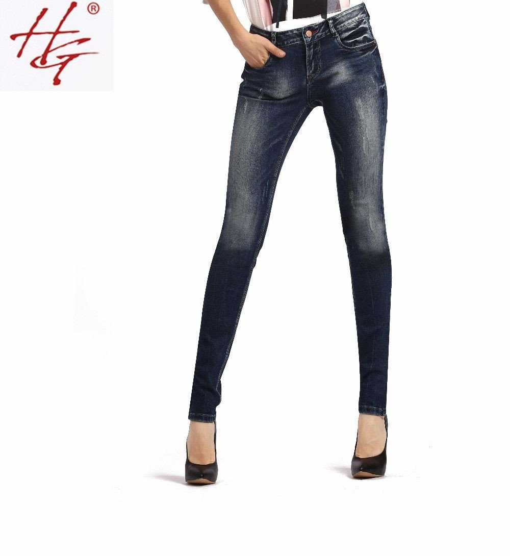 autumn style mid waist skinny jeans female deep blue denim pants women sexy pencil pants high quality-JEANS-SheSimplyShops