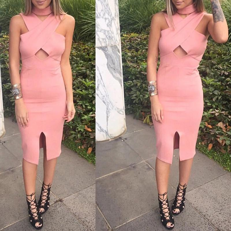 HDY Haoduoyi Pink Cross Over Cut Out Bodycon Midi Dress Solid Split Bottom Bodycon Dress Sexy Cold Shoulder Party Club Dress-Dress-SheSimplyShops
