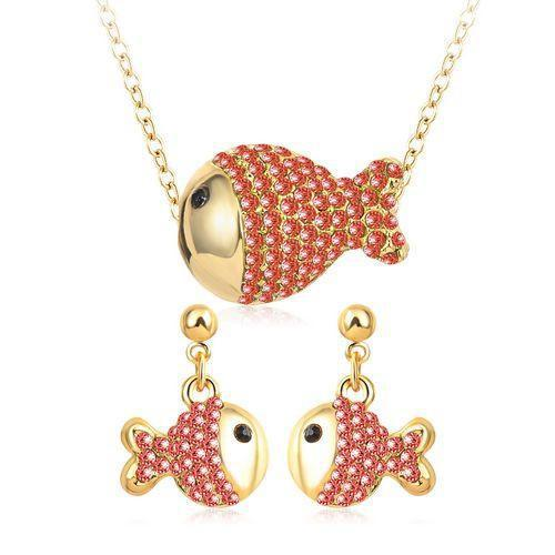 Women Crystal Jewelry Sets Gold/White Gold Plated Lovely Fish Style Pendant Earrings Set Austrian Crystal Jewelry PCST0010-EARRINGS-SheSimplyShops