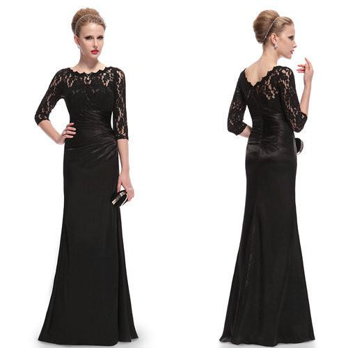 Evening Dresses HE09882 Ever Pretty Elegant 3/4 Sleeve Lace Women Long Winter Formal Evening Dresses Celebrity Dresses-Dress-SheSimplyShops