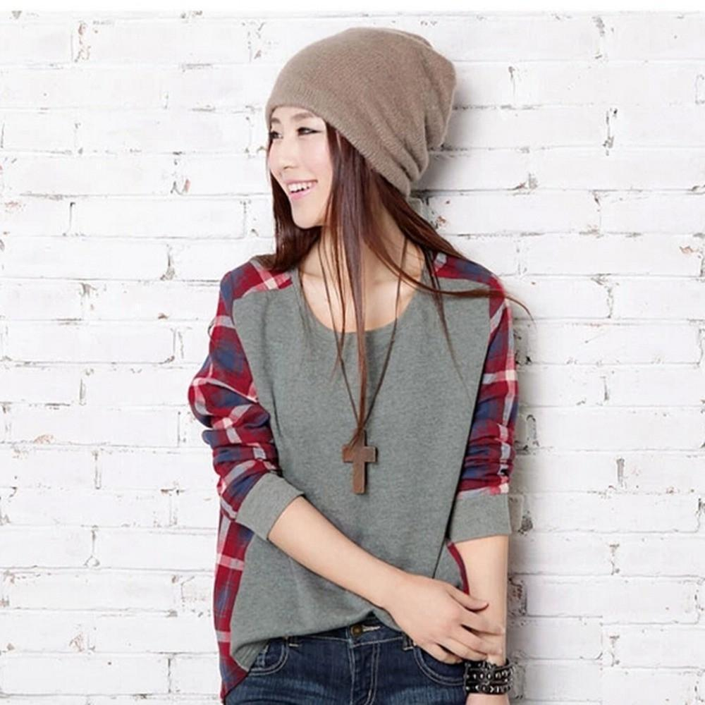 Women Checked Long Sleeve Sweatshirts Casual Loose Tops Blouse O Neck Pullover high quality-Blouse-SheSimplyShops