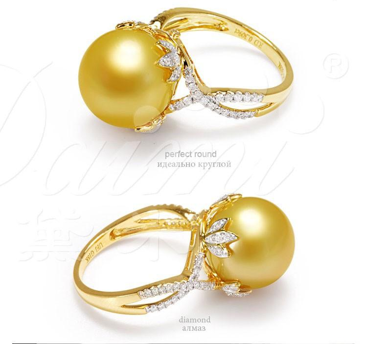 New Big Pearl Ring Yellow Gold Diamond Top Quality Pearls-Tops-SheSimplyShops