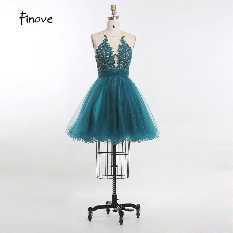 New Short A Line Halter Backless Tulle Appliques Formal Prom Gown Sweet Cocktail Dresses Women Homecoming Dresses-Dress-SheSimplyShops