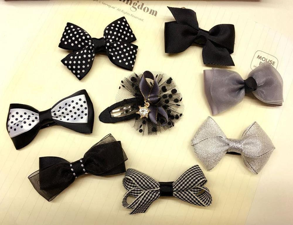 8pcs lot bowknot baby girls kids hair clips pin bows headwear hairpin accessories for children hair ornaments hairclip headdress-Dress-SheSimplyShops