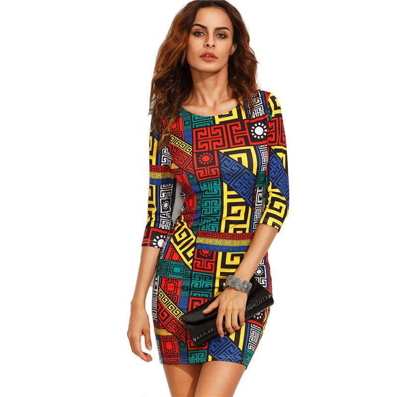 COLROVIE Long Sleeve Bodycon Dress Autumn Women Dress Multicolor Meander Pattern Print Mini Sexy Fall Dress-Dress-SheSimplyShops