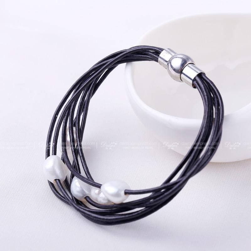 White Natural Baroque Pearl Bracelet Layers Leather Bracelet Wholesale Price Magnet Clasp-BRACELETS-SheSimplyShops