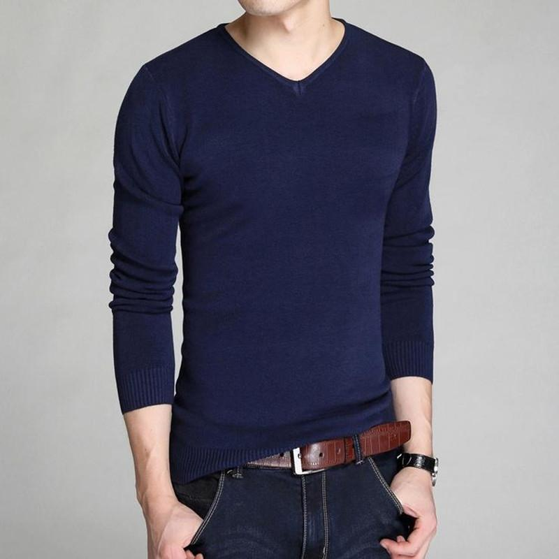 new winter men's sweater men's V-neck sweater bottoming Slim solid color long-sleeved sweater-Bottoms-SheSimplyShops