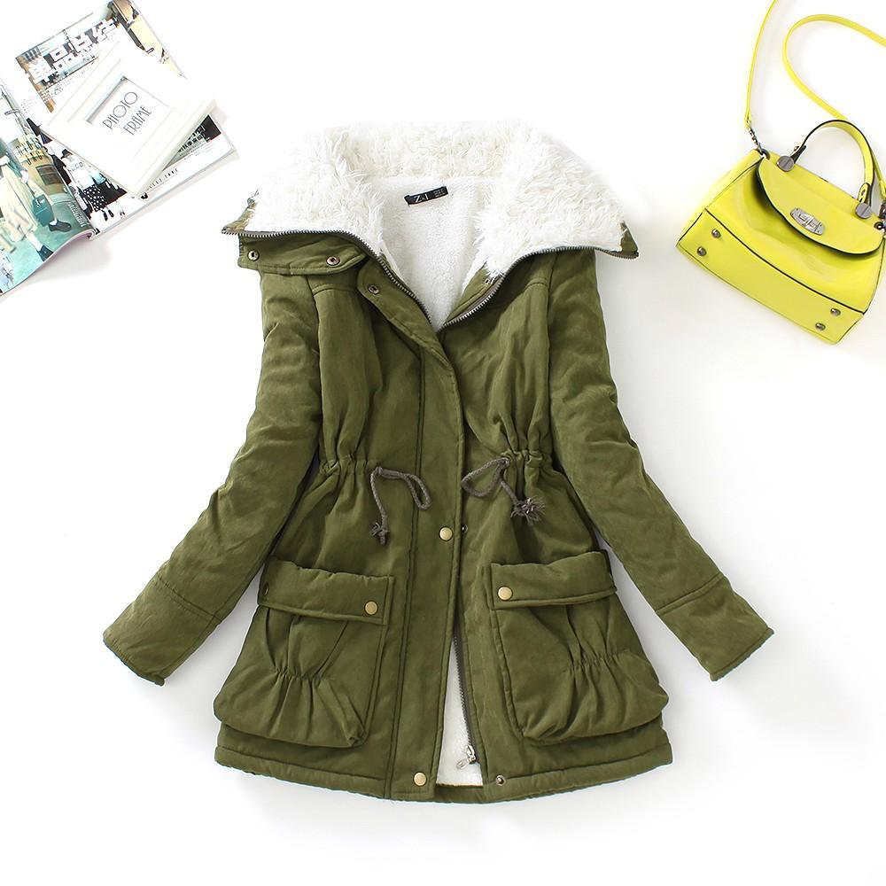 new winter parkas women slim cotton coat thickness overcoat medium-long casual overcoat wadded snow outwear-Coats & Jackets-SheSimplyShops
