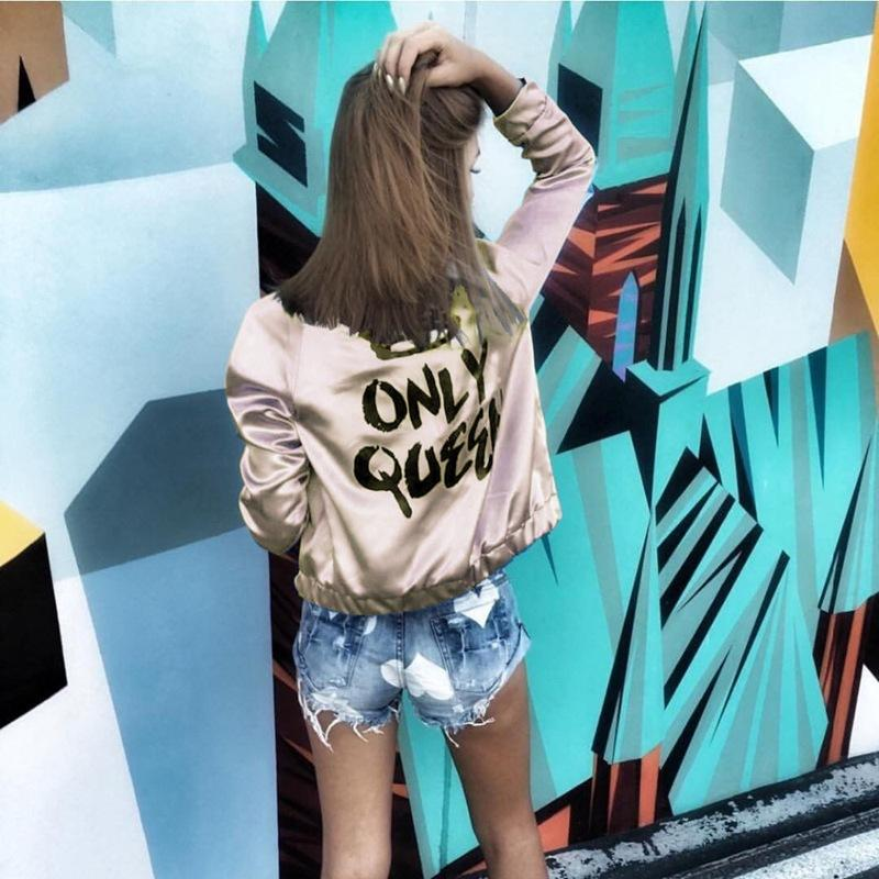 Fashion Women Basic Coats Satin Silk Champagne Gold Bomber Jacket Back ONLY QUEEN Crown Letter Print outerwear coats-Coats & Jackets-SheSimplyShops