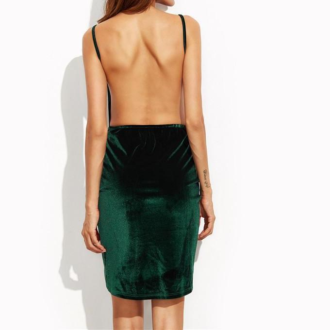 SheIn Womens Sexy Dresses Party Night Club Dress Dark Green Summer Spaghetti Strap Backless Sexy Mini Cami Dress-Dress-SheSimplyShops