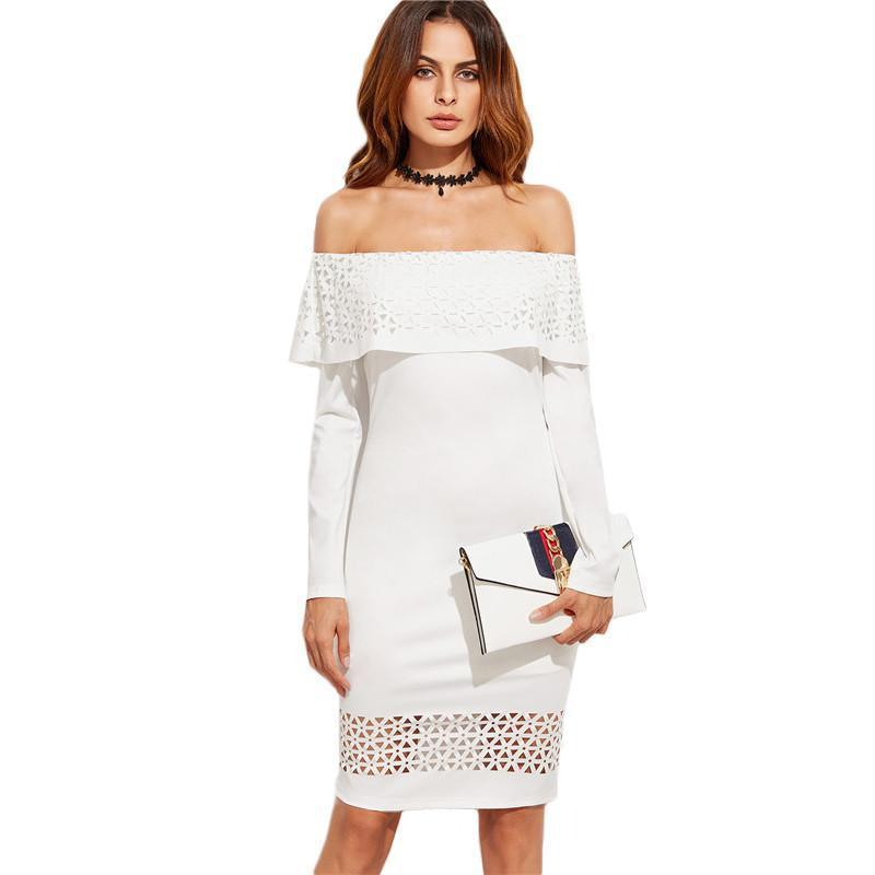 SheIn Bodycon Dress Women Party Sexy Dress Knee Length Korean Dress White Laser Cut Out Off The Shoulder Ruffle Dress-Dress-SheSimplyShops