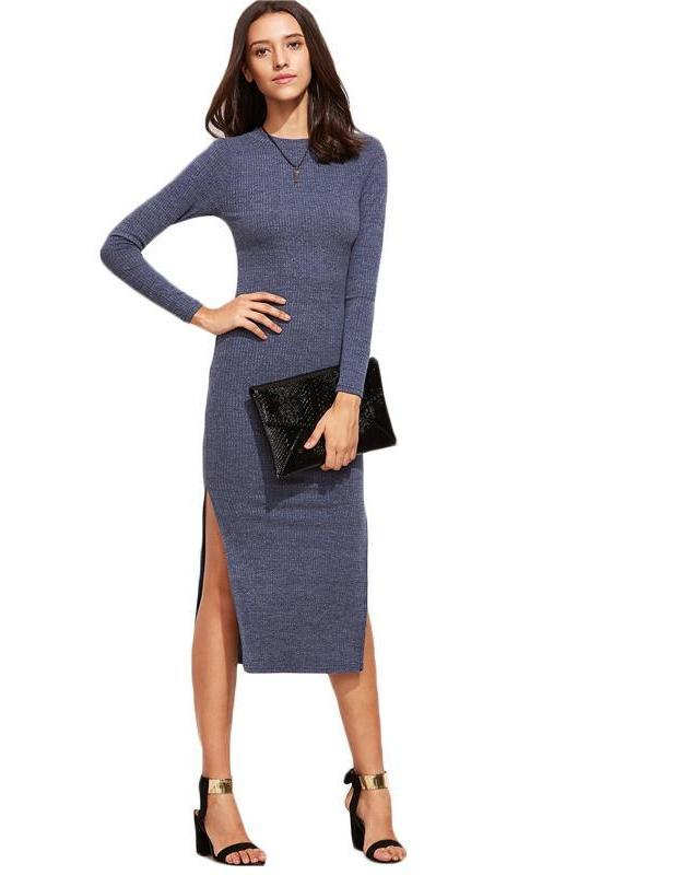 SheIn Autumn Blue Midi Bodycon Dress Women Sweater Dress Fall Long Sleeve Dress Split Side Sexy Sheath Dress-Dress-SheSimplyShops