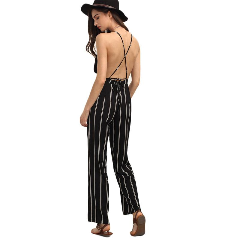 Backless Deep V Neck Casual Jumpsuit-ROMPERS & JUMPSUITS-SheSimplyShops