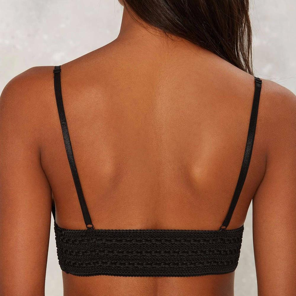HDY Haoduoyi Solid Black Women Bralette Deep V-neck Elastic Bra Casual Sexy Lace Contrast Bralette Push Up Soft Fitted Bralette-BRALETTE-SheSimplyShops